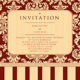 Invitation to the wedding or announcements. Ornate damask background. Vector illustration Stock Photography