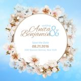 Invitation to the wedding. Blooming Sakura on sky background. Vector template Royalty Free Stock Image