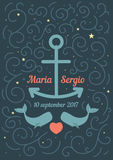 Invitation to the wedding in a marine theme. Royalty Free Stock Images