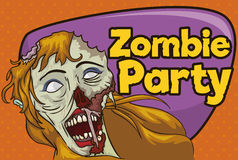 Invitation to Zombie Party with Undead Blond Haired Female, Vector Illustration Stock Images