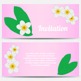 Invitation with tropical plumeria on a pink Stock Photo