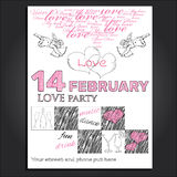 Invitation for Valentine day. Vector illustration of  invitation for Valentines  day. Template for graphic poster Stock Photo