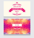 Invitation for valentine's day party, cute hand drawn and geometric design. Greeting cards for valentine's day, invitation for valentine's day party, cute hand Stock Photography