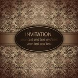 Invitation vector card in brown with gold ribbon vector illustration