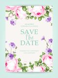 Invitation vertical card. Floral vertical vintage invitation with pink garden blooming flowers. Vector illustration Royalty Free Stock Images