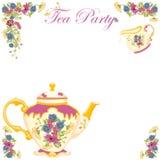 Invitation victorienne de réception de thé de bac de thé illustration de vecteur