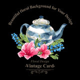 Invitation Vintage Card with Blueberries, Pink Royalty Free Stock Photography
