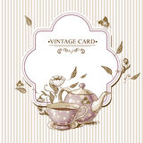 Invitation Vintage Card with Cup, Pot and Flowers Royalty Free Stock Photos