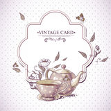 Invitation Vintage Card with Cup, Pot and Flowers Royalty Free Stock Photo