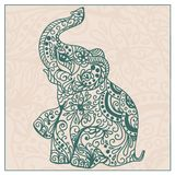 Invitation vintage card with elephant Royalty Free Stock Image