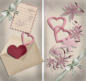Invitation vintage card letter heart on dotted Royalty Free Stock Photos