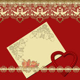 Invitation vintage frame with golden lace on red Royalty Free Stock Image