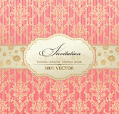 Invitation vintage label  frame pink Stock Photo