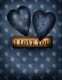 Invitation vintage letter card paper with hearts on navy stars b Stock Photo