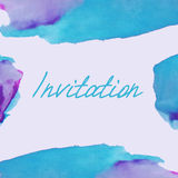 Invitation with watercolor background Stock Photo