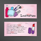 Invitation in watercolor style with the image of cosmetics Royalty Free Stock Photography