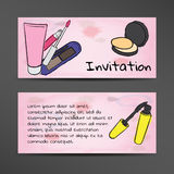 Invitation in watercolor style with the image of cosmetics Stock Photo