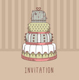 Invitation with wedding cake. Vector illustration. Sweet design Royalty Free Stock Photos