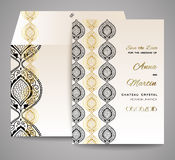 Invitation or wedding card with abstract ornamental background. Vector set Stock Photo