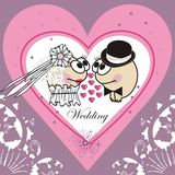Invitation wedding card (Animated cartoon). Royalty Free Stock Image