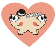 Love card with monsters. Royalty Free Stock Photos