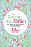 Invitation wedding card with current trendy flowers vector template Stock Photos