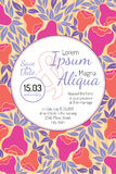 Invitation wedding card with current trendy flowers vector template Royalty Free Stock Photos