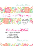 Invitation wedding card with current trendy flowers vector template Royalty Free Stock Photo