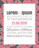 Invitation wedding card with current trendy flowers vector template Stock Image