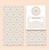 Invitation or wedding card with damask background and elegant fl. Oral elements. Elegant invitation or wedding card. Design element Royalty Free Stock Photos