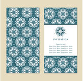 Invitation or wedding card with damask background and elegant fl Stock Images