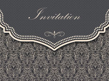 Invitation or wedding card with damask background Stock Image