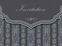 Invitation or wedding card with damask background. And elegant floral elements. Eps10 Stock Image