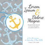 Invitation wedding card in marine style vector Stock Photos