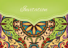 Invitation or wedding card with ornate background. Tribal ethnic lace pattern, vector illustration Royalty Free Stock Image