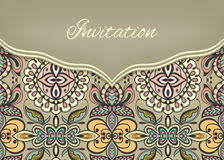 Invitation or wedding card with ornate background. Tribal ethnic lace pattern, vector illustration Stock Photo