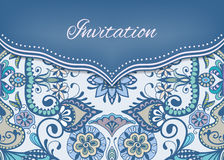 Invitation or wedding card with ornate background. Tribal ethnic lace pattern, vector illustration Stock Photos