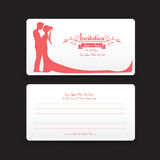 002 Invitation wedding card template with silhouette couple kiss Stock Images
