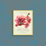 Invitation wedding card with watercolor carnation. Invitation card template with watercolor red carnation. Wedding card suite. Grunge background. Elegance Royalty Free Stock Photo