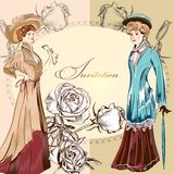 Invitation wedding greeting card with vintage ladies Royalty Free Stock Photos