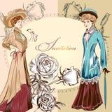 Invitation wedding greeting card with vintage ladies Royalty Free Stock Photos