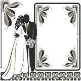 Invitation with Wedding pair stock image