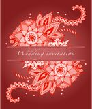 Invitation for a wedding in red and Indian flowers. Cute invitation for a wedding in red and Indian flowers Stock Photography