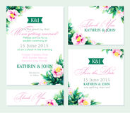Invitation wedding set. Romantic cards. Vector watercolor backround with peony. Can be used as business card template Royalty Free Stock Photography