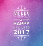 Invitation or winter`s card Merry Christmas and Happy New Year 2017. Vector illustration. Snow and gradient background Stock Photos