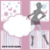 Invitation with woman silhouette Stock Photo