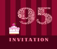 The invitation, for 95 years, cake with raspberries, vector, English. The invitation to the birthday party. Wedding anniversary. Color card. Berry cake with vector illustration