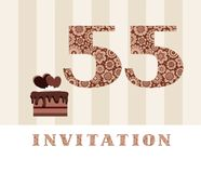 The invitation, 55 years, chocolate cake, heart-shaped, vector. The invitation to the birthday party. Wedding anniversary. Color card. Chocolate cake with stock illustration
