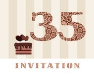 The invitation, 35 years old, chocolate cake, heart-shaped, vector. The invitation to the birthday party. Color card. Chocolate cake with hearts. English vector illustration