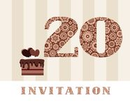 Invitation, 20 years old, chocolate cake, heart, vector. The invitation to the birthday party. Wedding anniversary. Color card. Chocolate cake with hearts Stock Images